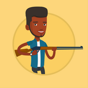 African-american man shooting skeet with shotgun. Young hunter ready to hunt with hunting rifle. Hunter aiming with a hunter gun. Vector flat design illustration in the circle isolated on background.