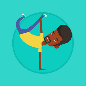African-american man showing his skills in break dance. Happy breakdance dancer doing handstand. Young smiling man breakdancing. Vector flat design illustration in the circle isolated on background.