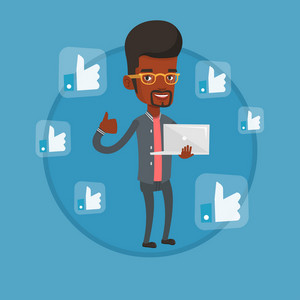 African-american man showing thumb up and like social network buttons around him. Man with laptop and like social network buttons. Vector flat design illustration in the circle isolated on background.