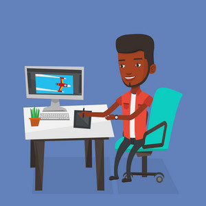African-american man sitting at the desk and drawing on graphics tablet. Young graphic designer using a digital graphics tablet, computer and pen. Vector flat design illustration. Square layout.