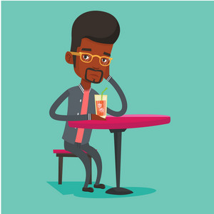 African-american man sitting in bar and drinking cocktail. Young sad man sitting alone in bar with cocktail on the table. Man drinking cocktail in bar. Vector flat design illustration. Square layout.