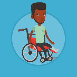 African-american man sitting in wheelchair with broken leg. Injured man with leg in plaster. Man with fractured leg in wheelchair. Vector flat design illustration in the circle isolated on background