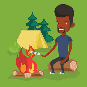 African-american man sitting near campfire. Man roasting marshmallow over campfire. Tourist relaxing near campfire on the background of camping site. Vector flat design illustration. Square layout.