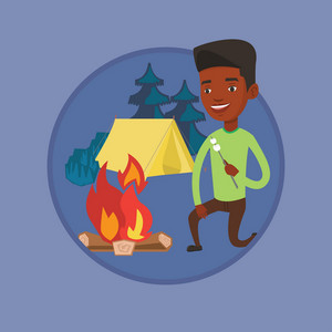 African-american man sitting near campfire with marshmallow. Man roasting marshmallow over campfire. Man relaxing near campfire. Vector flat design illustration in the circle isolated on background.