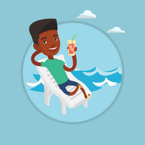 African-american man sitting on a beach chair. Man drinking a cocktail on a beach chair. Joyful man resting on beach with cocktail. Vector flat design illustration in the circle isolated on background