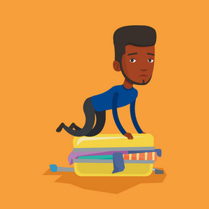 African-american man sitting on suitcase and trying to close it. Frustrated man having problems with packing a lot of clothes into a single suitcase. Vector flat design illustration. Square layout.