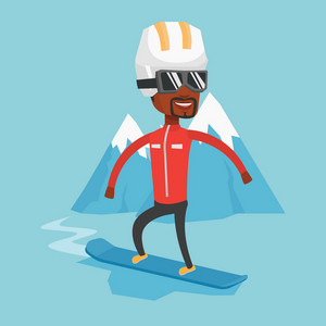African-american man snowboarding on the background of snow capped mountain. Snowboarder on piste in mountains. Young man snowboarding in the mountains. Vector flat design illustration. Square layout.