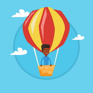 African-american man standing in the basket of hot air balloon. Man flying in a hot air balloon. Man traveling in hot air balloon. Vector flat design illustration in the circle isolated on background.