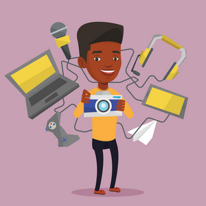 African-american man taking photo with digital camera. Man surrounded with gadgets. Man using many electronic gadgets. Guy addicted to modern gadgets. Vector flat design illustration. Square layout.