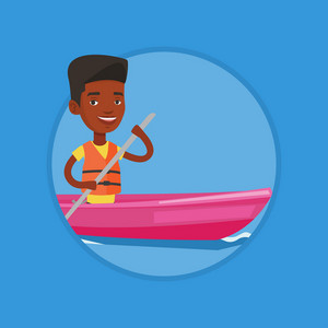 African-american man traveling by kayak. Sportsman riding in a kayak in the river. Male kayaker paddling. Man paddling a canoe. Vector flat design illustration in the circle isolated on background.