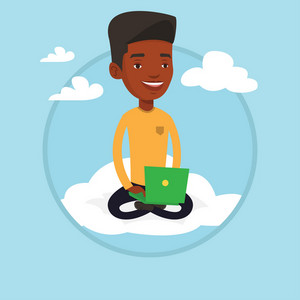 African-american man using cloud computing technology. Man sitting on a cloud with laptop on his knees. Concept of cloud computing. Vector flat design illustration in the circle isolated on background