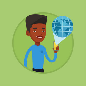 African-american man using global network. Man holding a smartphone with a virtual globe model. Global communication concept. Vector flat design illustration in the circle isolated on background.