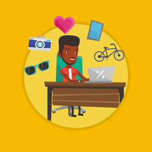African-american man using laptop for online shopping. Man doing online shopping. Man buying in online shop. Guy buying on internet Vector flat design illustration in the circle isolated on background
