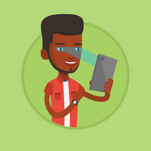 African-american man using smart mobile phone with retina scanner. Young happy man using iris scanner to unlock his mobile phone. Vector flat design illustration in the circle isolated on background.