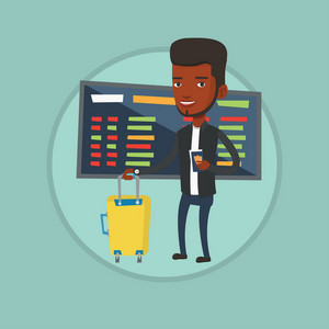 African-american man waiting for a flight in airport. Passenger holding passport and airplane ticket. Man standing in airport. Vector flat design illustration in the circle isolated on background.