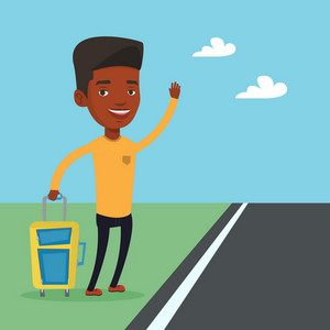 African-american man with suitcase hitchhiking on roadside. Hitchhiking man trying to stop a car on a highway. Man catching taxi car by waving hand. Vector flat design illustration. Square layout.