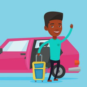 African-american man with suitcase standing on the background of open car door. Young happy man waving in front of car. Man going to vacation by car. Vector flat design illustration. Square layout.