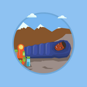 African-american man wrapped up in a mummy sleeping bag. Smiling man relaxing in a sleeping bag while camping in the mountains. Vector flat design illustration in the circle isolated on background.
