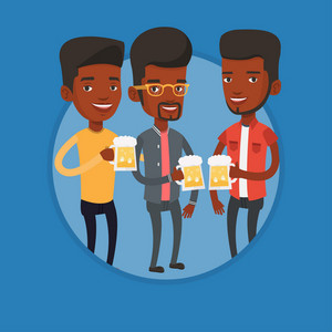 African-american men drinking beer. Beer fans toasting and clinking glasses of beer. Group of young friends enjoying a beer at pub. Vector flat design illustration in the circle isolated on background