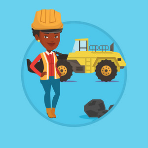 African-american miner in hard hat standing on the background of excavator. Confident miner with crossed arms standing near coal. Vector flat design illustration in the circle isolated on background.