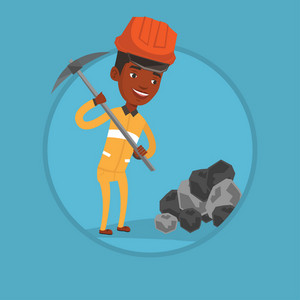African-american miner in hard hat working with a pickaxe. Miner working at the coal mine. Young miner at work. Vector flat design illustration in the circle isolated on background.