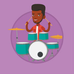 African-american mucisian playing on drums. Young man playing on drums. Man playing on drum kit. Guy sitting behind the drum kit. Vector flat design illustration in the circle isolated on background.