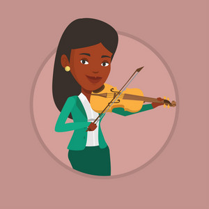 African-american musician standing with violin. Musician playing violin. Cheerful violinist playing classical music on violin. Vector flat design illustration in the circle isolated on background.