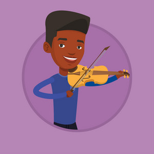 African-american musician standing with violin. Young smiling musician playing violin. Cheerful violinist playing music on violin. Vector flat design illustration in the circle isolated on background.