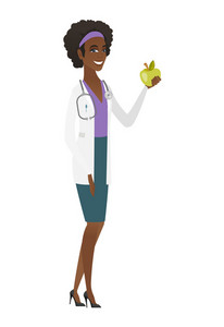 African-american nutritionist prescribing diet and healthy eating. Smiling nutritionist holding an apple. Nutritionist offering an apple. Vector flat design illustration isolated on white background.