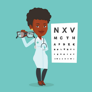 African-american oculist doctor giving glasses. Professional ophthalmologist holding eyeglasses on the background of eye chart. Oculist offering glasses. Vector flat design illustration. Square layout