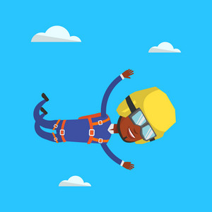 African-american parachutist jumping with parachute. Professional parachutist falling through the air. Happy young woman flying with parachute in clouds. Vector flat design illustration. Square layout