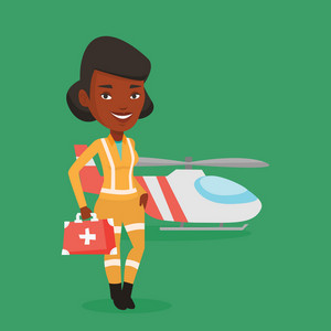 African-american paramedic standing in front of helicopter. Doctor of air ambulance. Young paramedic with first aid box. Doctor of air rescue service. Vector flat design illustration. Square layout.