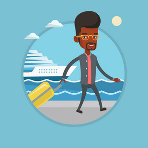 African-american passenger with suitcase going to cruise liner at the pier station. Man walking on the background of cruise liner. Vector flat design illustration in the circle isolated on background.