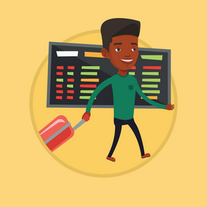 African-american passenger with suitcase walking on the background of schedule board in airport. Man pulling suitcase in airport. Vector flat design illustration in the circle isolated on background.