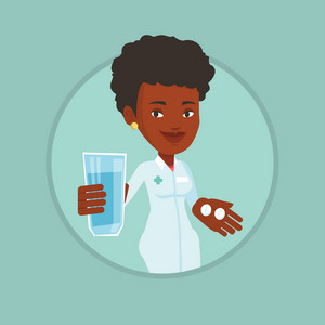 African-american pharmacist holding a glass of water and pills in hands. Pharmacist in medical gown. Pharmacist giving medication. Vector flat design illustration in the circle isolated on background