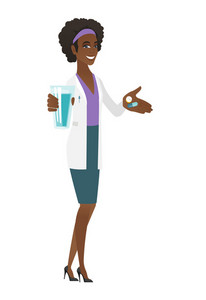 African-american pharmacist holding a glass of water and pills in hands. Smiling pharmacist in medical gown. Pharmacist giving medication. Vector flat design illustration isolated on white background.