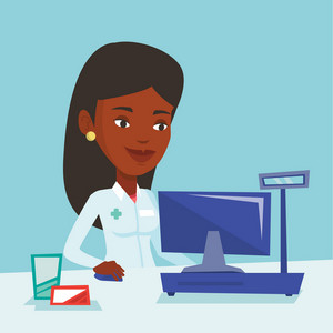 African-american pharmacist in medical gown standing at the pharmacy counter. Pharmacist in the drugstore. Young female pharmacist working on a computer. Vector flat design illustration. Square layout