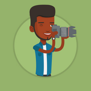 African-american photographer working with digital camera. Photographer taking a photo. Smiling photographer taking a picture. Vector flat design illustration in the circle isolated on background.