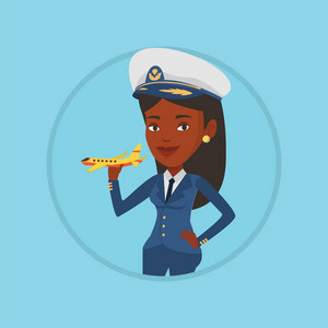 African-american pilot holding model of airplane in hand. Cheerful airline pilot in uniform. Smiling pilot with model of airplane. Vector flat design illustration in the circle isolated on background.