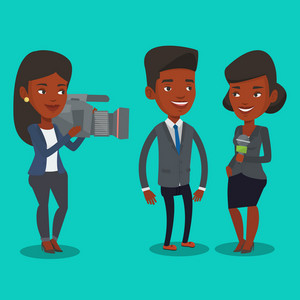 African-american professional reporter with microphone interviews a man. Female operator filming interview. Journalist making interview with businessman. Vector flat design illustration. Square layout