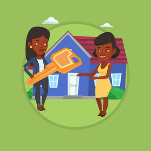 African-american real estate agent passing house keys to a new owner. Friendly real estate agent giving key to new owner of house. Vector flat design illustration in the circle isolated on background.