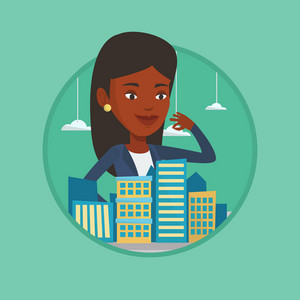 African-american real estate agent presenting a model of city. Sales manager working with a project of a new district of the city. Vector flat design illustration in the circle isolated on background.