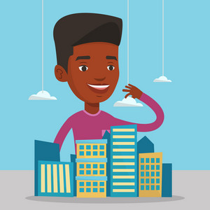 African-american real estate agent presenting a model of modern city district. Sales manager working with a project of a new modern district of the city. Vector flat design illustration. Square layout