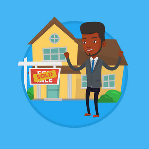 African-american real estate agent standing in front of sold real estate placard and house. Successful real estate agent sold a house. Vector flat design illustration in circle isolated on background.