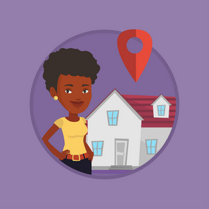 African-american real estate agent standing on the background of map pointer above the house. Real estate agent offering the house. Vector flat design illustration in the circle isolated on background
