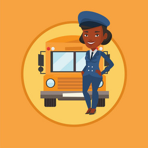 African-american school driver standing in front of yellow bus. Smiling school bus driver in uniform. Cheerful school bus driver. Vector flat design illustration in the circle isolated on background.