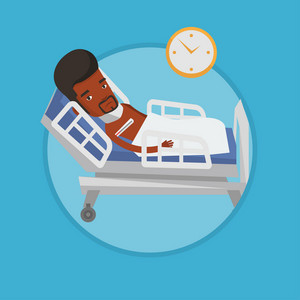 African-american sick man with fever laying in bed. Sick man measuring temperature with thermometer. Sick man suffering from flu virus. Vector flat design illustration in circle isolated on background