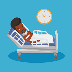 African-american sick man with fever laying in bed. Young sick man measuring temperature with thermometer. Sick man suffering from cold or flu virus. Vector flat design illustration. Square layout.