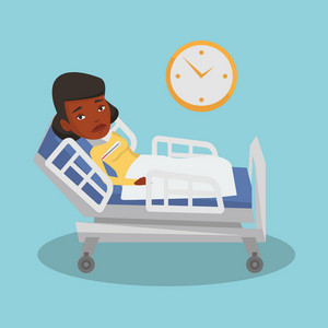 African-american sick woman with fever laying in bed. Sick woman measuring temperature with thermometer. Sick woman suffering from cold or flu virus. Vector flat design illustration. Square layout.