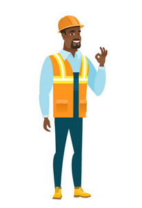 African-american smiling builder showing ok sign. Young cheerful builder making ok sign. Successful happy builder gesturing ok sign. Vector flat design illustration isolated on white background